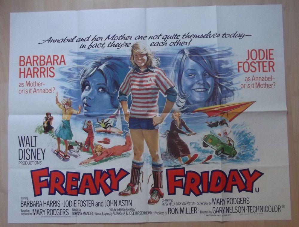 Freaky Friday Original British Quad Poster Jodie Foster